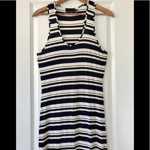 Cynthia Rowley striped racer back scoop neck navy
